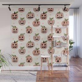 Pumpkin halloween jack-o'-lantern fall autumn carving cute pattern Wall Mural