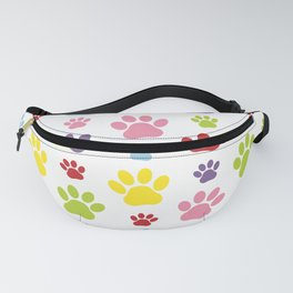 Colorful Paws, Dog Traces, Trails, Animal Paws Fanny Pack