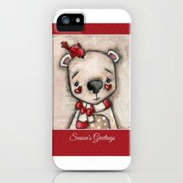 Red Bird and Polar Bear - Christmas Holiday Art iPhone Case
