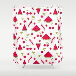 Pattern watermelon cherry raspberry currant Shower Curtain