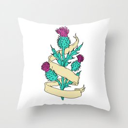 Scottish Thistle With Ribbon Color Drawing Throw Pillow