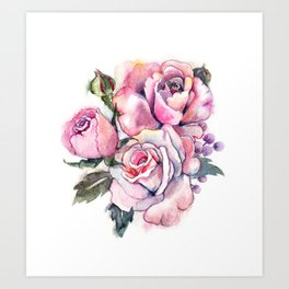watercolor roses. bridal bouquet Art Print