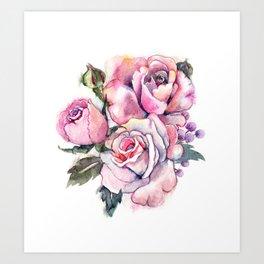 watercolor roses. bridal bouquet Art Print