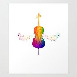 Colorful Cello Art Print