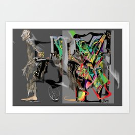 breaking out, psychology behaviour, borderline personality, split personality, freeing itself Art Print