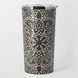 Mandala White Gold on Dark Gray Travel Mug