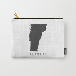 Vermont Mono Black and White Modern Minimal Street Map Carry-All Pouch