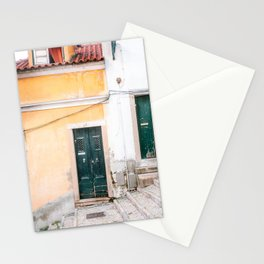 Yellow Lisbon | Front door travel photography Alfama quarter | Portugal  Stationery Cards