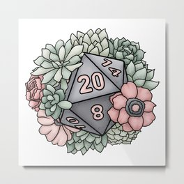Succulent D20 Tabletop RPG Gaming Dice Metal Print
