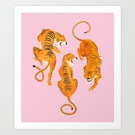 Three fierce tigers Art Print