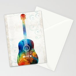 Colorful Guitar Art by Sharon Cummings Stationery Cards