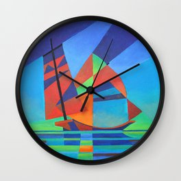 Cubist Abstract Junk Boat Against Deep Blue Sky Wall Clock