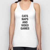 video games Tank Tops featuring Cats Naps Video Games by ClicheZero