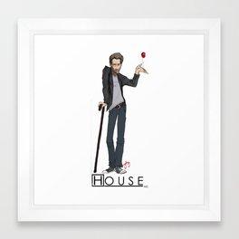 House Hugh Laurie Illustration Framed Art Print