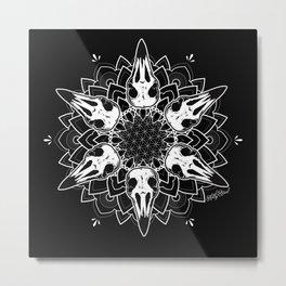 Crow Mandala Metal Print