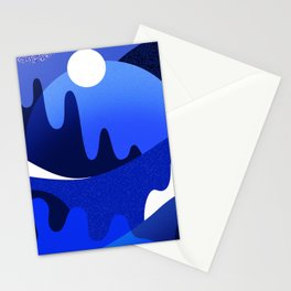 Terrazzo landscape blue night Stationery Cards