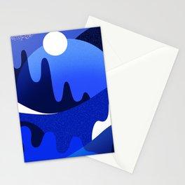 Terrazzo landscape blue night Stationery Cards