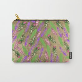 Modern chic faux gold pink purple green watercolor feathers Carry-All Pouch