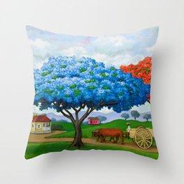 Flamboyán Azul Throw Pillow