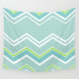 Ric-Rac-Dotty Blue And Lime Wall Tapestry