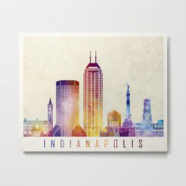 Indianapolis landmarks watercolor poster Metal Print