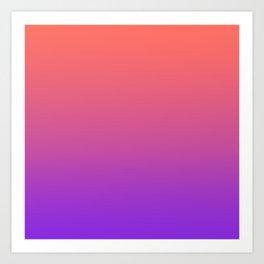 Gradient Ombre Living Coral Proton Purple Pattern Orange Peach Neon Ultra Violet Soft Trendy Texture Art Print