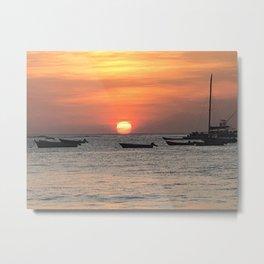 Bright Sun Sets Over Ocean Metal Print