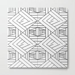 Geometricaldesignpatblkwht Metal Print