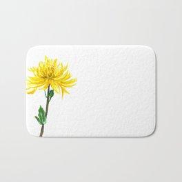 one yellow chrysanthemum Bath Mat