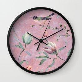 Bird on spring flowers Wall Clock