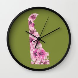 Delaware in Flowers Wall Clock