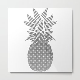 Black and White Pattern Pineapple Artwork Metal Print