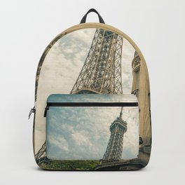 France Photography - The Eiffel Tower Seen From The Streets Of Paris Backpack