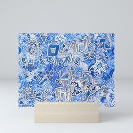 Delft Blue and White Pattern Painting with Lions and Tigers and Birds Mini Art Print