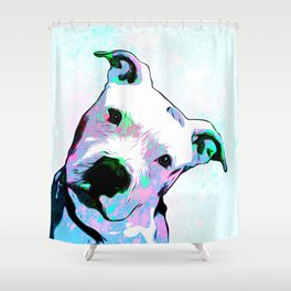 Pit bull - Puzzled - Pop Art Shower Curtain