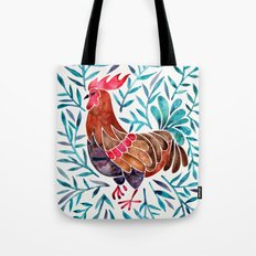 Le Coq – Watercolor Rooster with Turquoise Leaves Tote Bag
