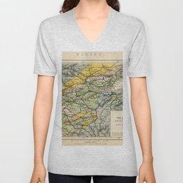 Scotch Coal Fields Vintage Map Unisex V-Neck