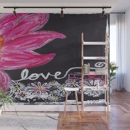 PINK FLOWER LOVE Wall Mural