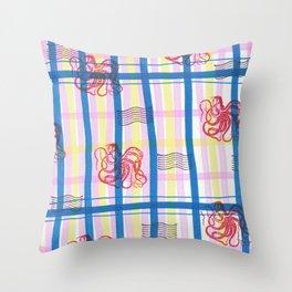 Naval Gingham Throw Pillow