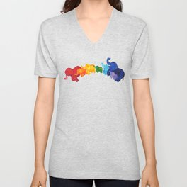 Elephant Rainbow Unisex V-Neck