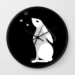 Rabbit and Butterfly Spirit Animal Wall Clock