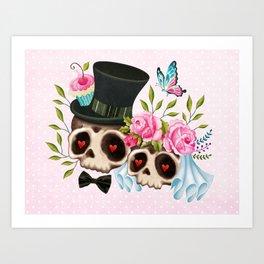 Together Forever - Sugar Skull Bride & Groom Art Print