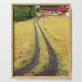 Red Barn Dirt Road Serving Tray