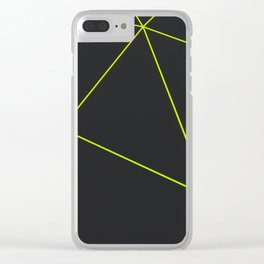 Dark low poly displaced surface with glowing lines Clear iPhone Case