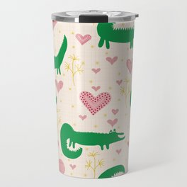 Mr. Crocodile loves you - Fabric pattern Travel Mug