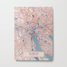Zurich - Switzerland Breezy City Map Metal Print