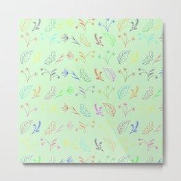 Crayon Flowers Drawing on Pastel Green Metal Print