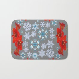 GOLD  GARLAND & SNOWFLAKES   RED AMARYLLIS FLOWERS CHRISTMAS ART Bath Mat