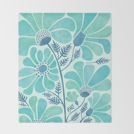 Himalayan Blue Poppies Throw Blanket