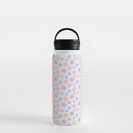 Blue Pink Flower Pattern Water Bottle